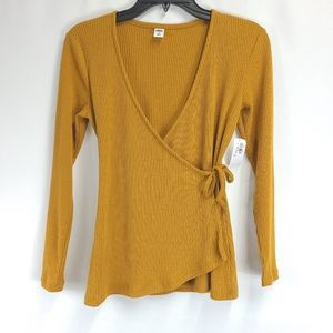 Old Navy Long Sleeve Faux Wrap Top